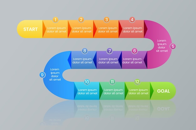 Modelli di elementi infographic di passaggi di roadmap di presentazione