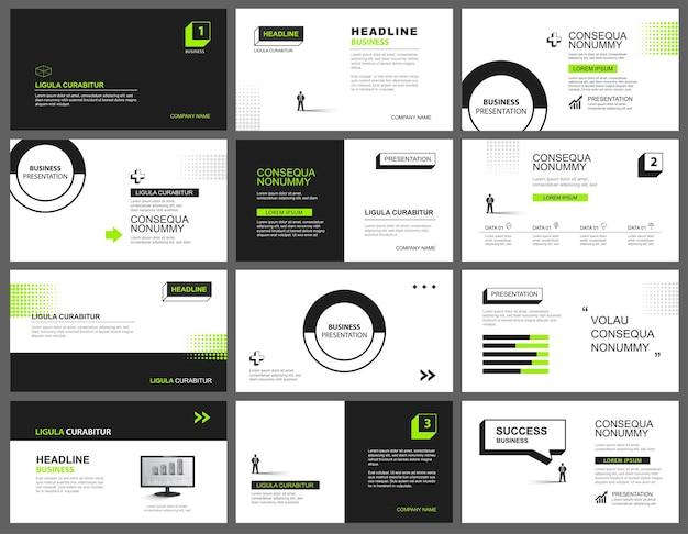 Presentazione e sfondo del layout delle diapositive. design modello geometrico verde e nero. utilizzare per keynote aziendali, presentazioni, diapositive, marketing.