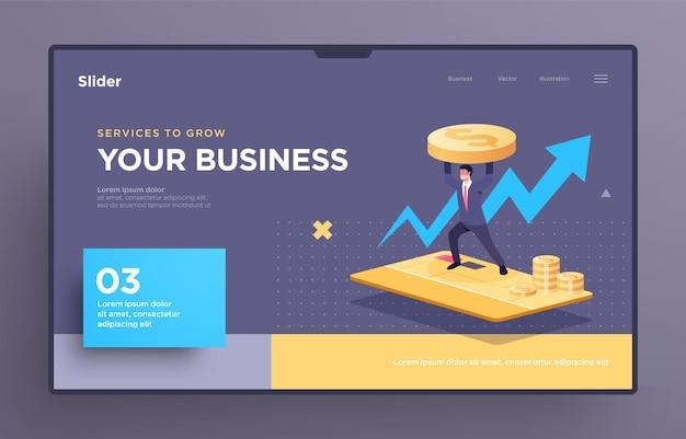 Modello di diapositiva di presentazione o pagina di destinazione per siti web o app illustrazione del concetto di business