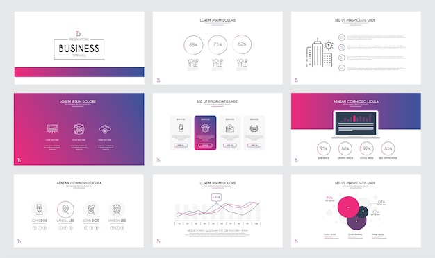 Modelli di diapositive di presentazione e brochure aziendali.