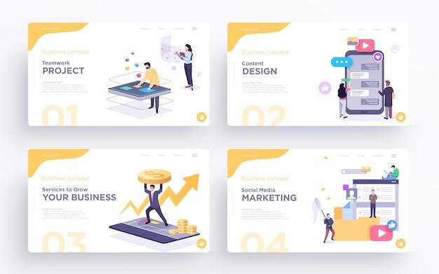 Modelli di diapositive di presentazione o immagini banner eroe per siti web illustrazioni di concetti aziendali