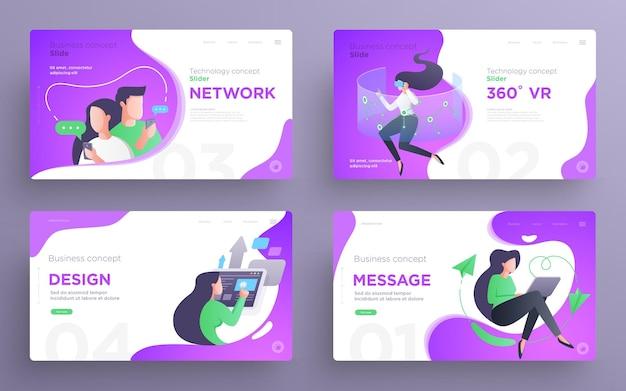 Modelli di diapositive di presentazione o pagine eroe per siti web concetto di business stile piatto moderno