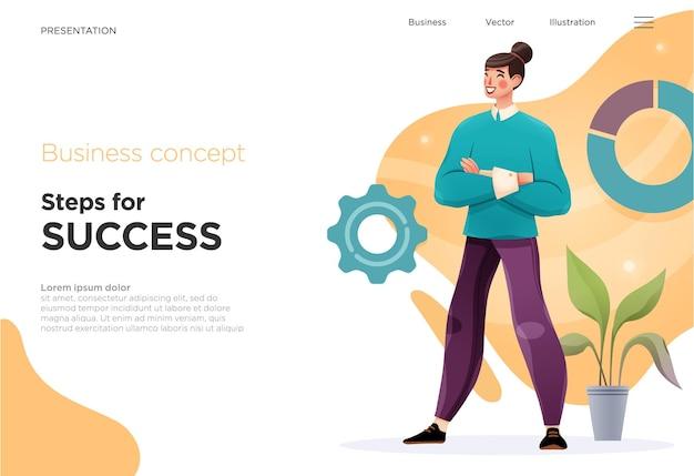 Modelli di diapositive di presentazione o pagine di destinazione per siti web o app illustrazioni di concetti aziendali