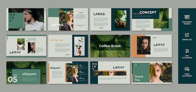 Layout del modello di presentazione, diapositiva di marketing del prodotto con design minimalista.