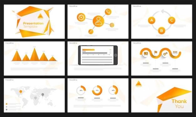 Modello di presentazione con elemento infographic arancione.
