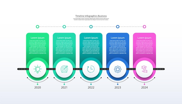 Presentazione infografica timeline business con cinque passaggi