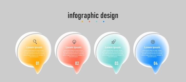 Presentazione trasparente business infografica creativa modello effetto vetro con 4 opzioni