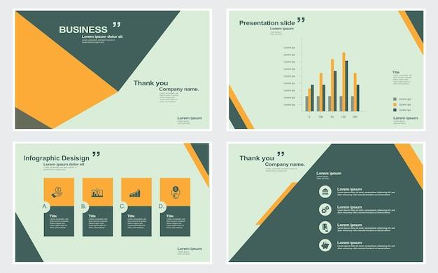 Elementi di modelli di presentazioni e infografiche nel design vettoriale presentazione della presentazione