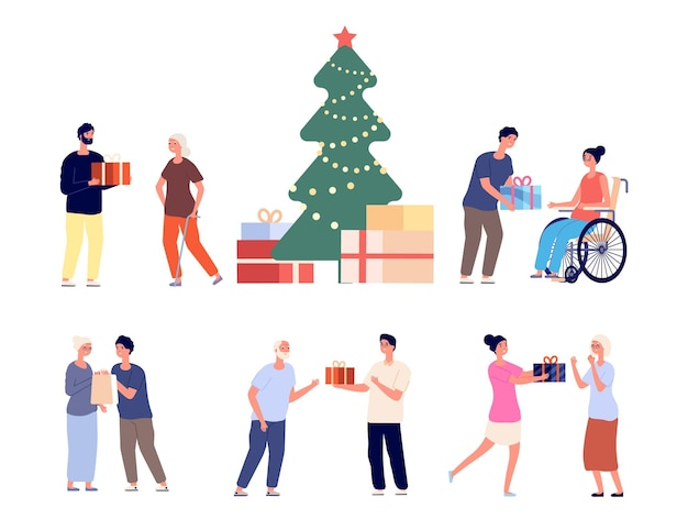 Regali per le persone anziane. festa di natale o capodanno in casa di cura per giovani volontari. regalo felice dei nipoti all'insieme di vettore dei nonni. regalo di natale all'illustrazione del nonno e della nonna