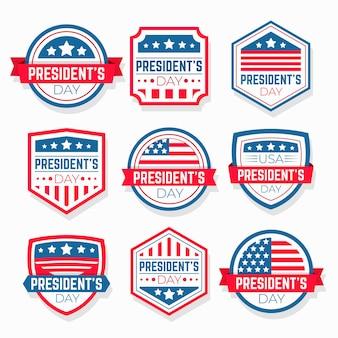 Confezione di etichette per eventi del giorno del presidente
