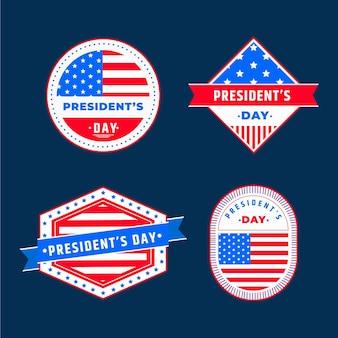 Set di etichette del giorno del presidente