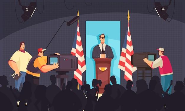 Il presidente parla sul podio davanti ai giornalisti