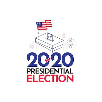 Illustrazione di progettazione del modello di vettore delle elezioni presidenziali 2020 degli stati uniti