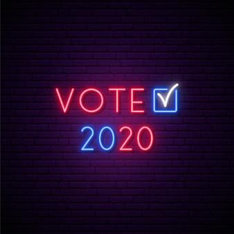 Insegna al neon di voto elettorale presidenziale