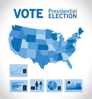 Voto delle elezioni presidenziali con mappa blu e design infografico, tema del governo e della campagna