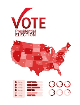 Voto elettorale presidenziale con mappa del segno di spunta e design infografico, tema del governo e della campagna