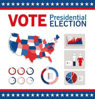 Voto elettorale presidenziale con mappa e design infografico, tema del governo e della campagna