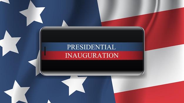 Cartolina d'auguri di concetto di celebrazione del giorno di inaugurazione presidenziale con l'illustrazione orizzontale di vettore dell'insegna dello schermo dello smartphone della bandiera degli stati uniti