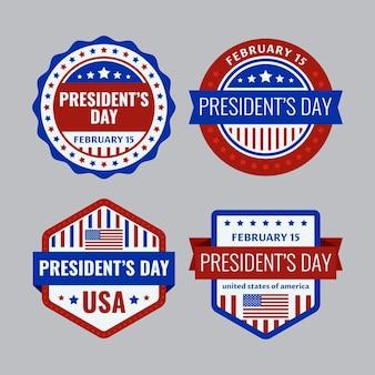 Collezione di badge per il giorno dei presidenti