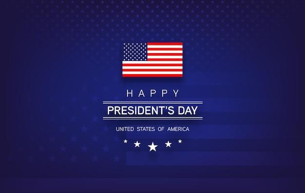 Banner del presidents day con scritte presidents day, bandiera degli stati uniti, sfondo blu scuro, stelle e strisce - illustratio vettoriale