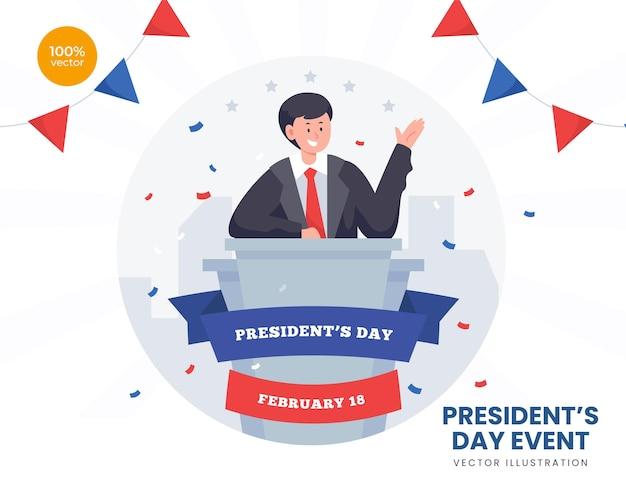 Illustrazione di concetto di giorno di presidenti, democrazia del governo degli stati uniti d'america. stili