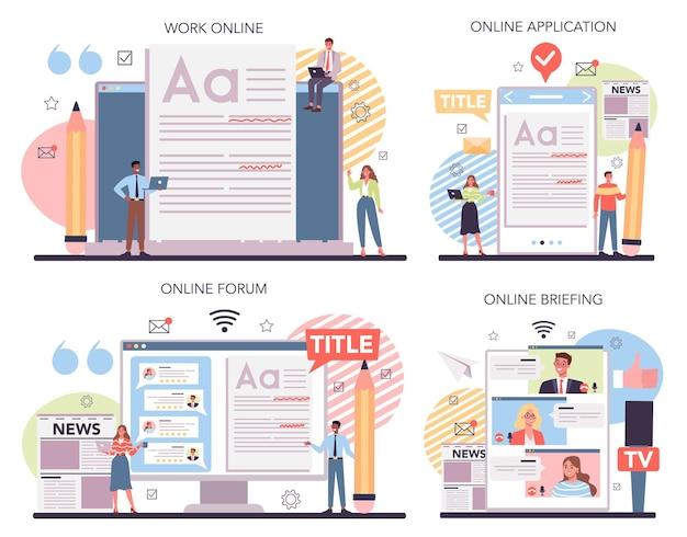 Comunicato stampa servizio online o set di piattaforme