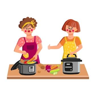 Pentola a pressione la cottura delle donne sulla cucina vettore. cook chef young girl riempimento pentola a pressione con verdure fresche per preparare cibi sani. personaggi con l'illustrazione piana del fumetto del dispositivo elettrico