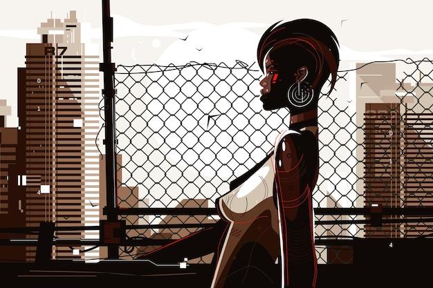 Illustrazione della donna cyber abbastanza afroamericana