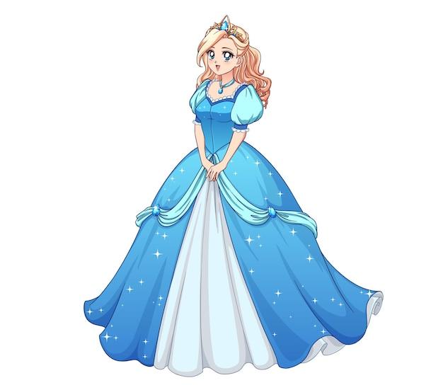 Bella principessa anime in piedi e indossa un abito da ballo blu.