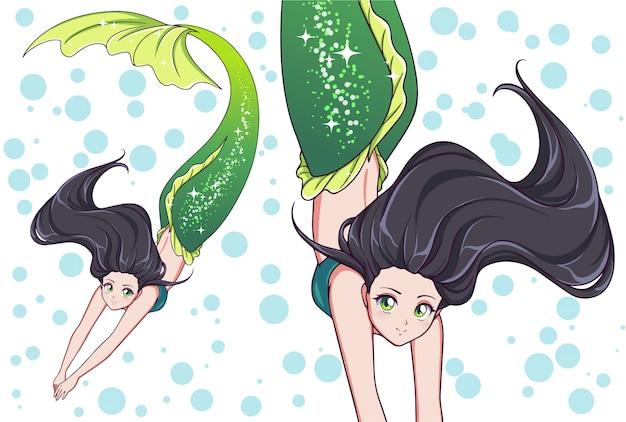 Bella sirena da nuoto anime. capelli neri e coda di pesce verde lucido.