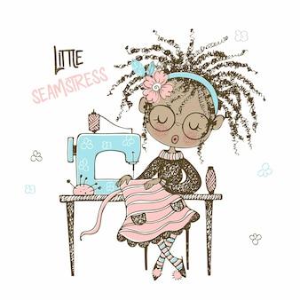 Una graziosa ragazza sarta nera cuce un vestito su una macchina da cucire. stile doodle. .