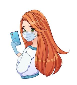 Ragazza graziosa del fumetto con capelli rossi lunghi che prendono selfie e indossa una camicia bianca e mascherina medica.
