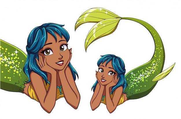 Sirena sdraiata simpatico cartone animato. capelli blu e coda di pesce verde lucido.