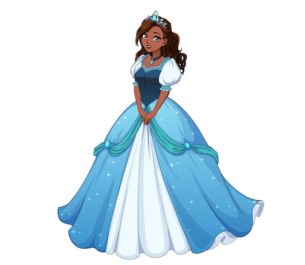 Bella principessa dei cartoni animati in piedi e indossa un abito da ballo blu