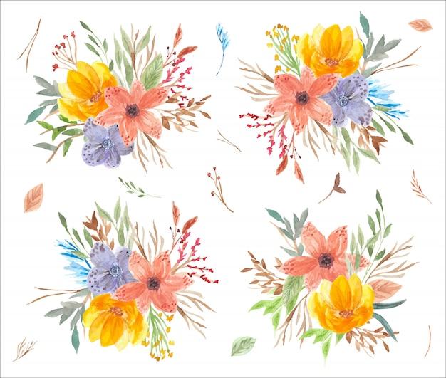 Raccolta dell'acquerello di composizione floreale piuttosto colorato