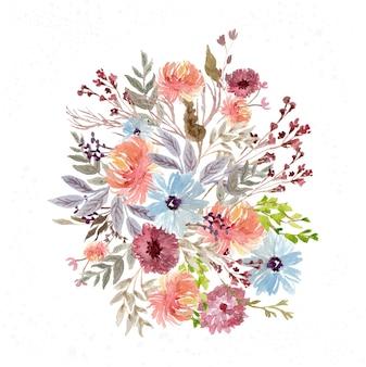 Disposizione dell'acquerello del giardino fiorito abbastanza colorato