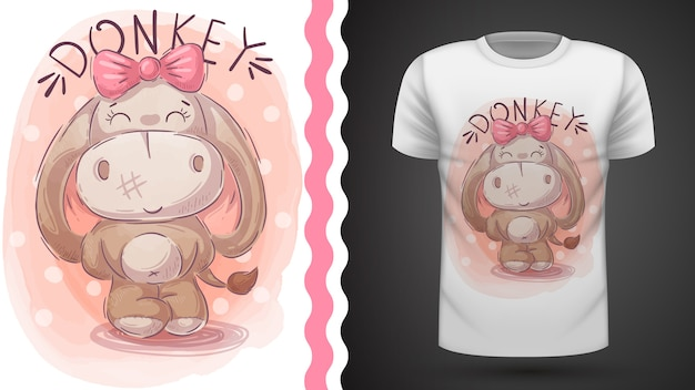 Grazioso asino, idea per t-shirt stampata