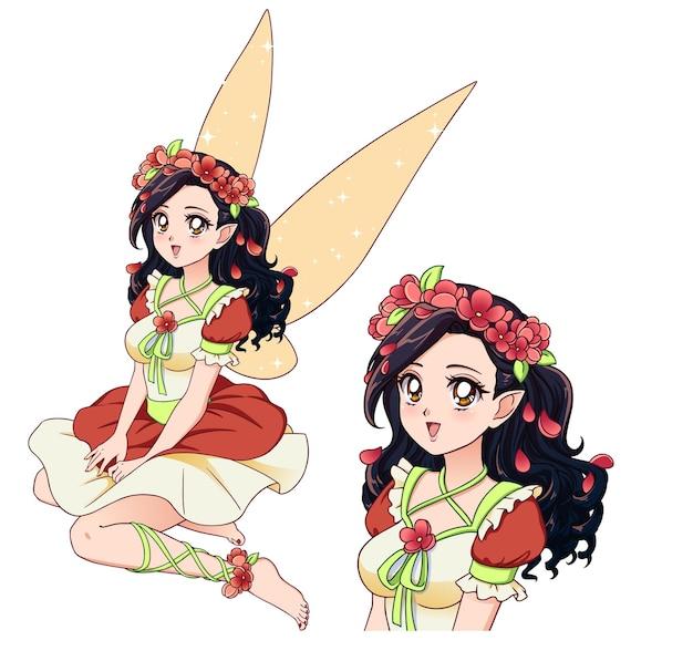 Bella fata con i capelli neri ricci che indossa una corona di fiori e un grazioso vestito rosso