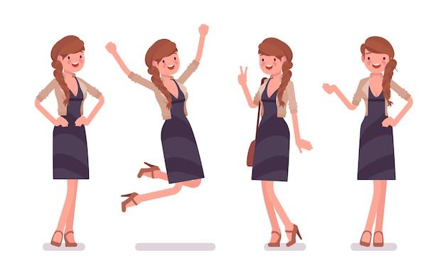 Impiegato di ufficio femminile grazioso che prova le emozioni positive