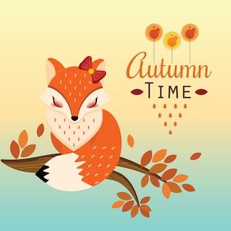 Piuttosto foxy seduto sul ramo in autunno