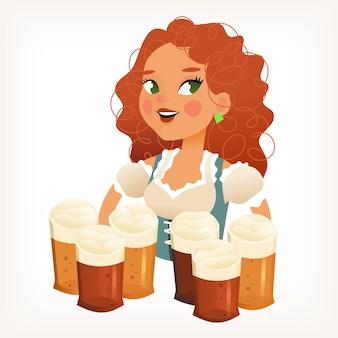 Bella cameriera con i capelli ricci rossi e grandi occhi che serve molti boccali di birra in mano