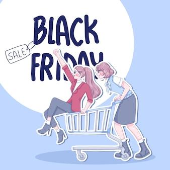 Le belle ragazze sono felici con lo shopping illustrazione dei personaggi dei cartoni animati