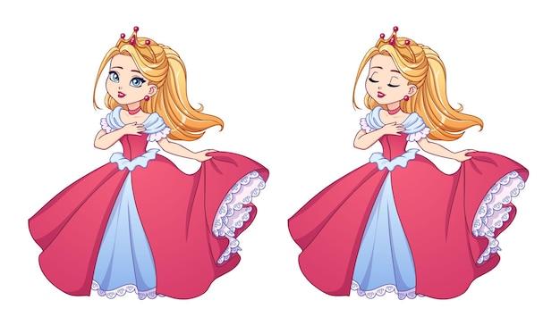 Bella piccola principessa con i capelli biondi che indossa un abito da ballo rosa e una corona d'oro. grande testa del fumetto. versioni ad occhi aperti e chiusi. illustrazione vettoriale disegnata a mano per stampe, carte, gioco per bambini.