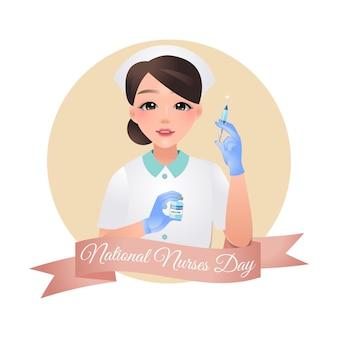 Posa graziosa dell'infermiera con la siringa e il vaccino covid19 progettazione nazionale di giorno degli infermieri isolata