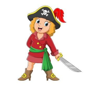 Illustrazione graziosa della spada della holding della ragazza del pirata
