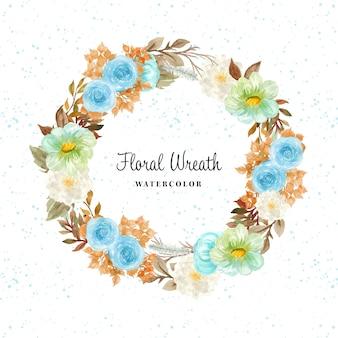 Graziosa ghirlanda floreale ad acquerello con fiori autunnali