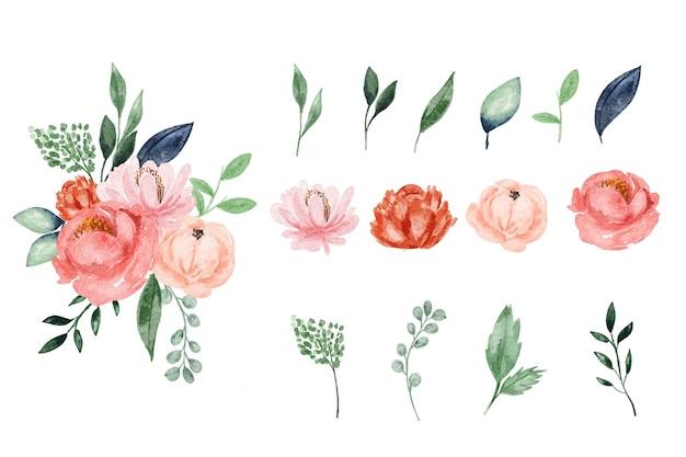 Elemento di design grazioso fiore acquerello