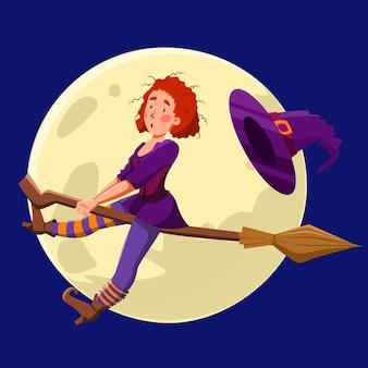 Una graziosa strega dai capelli ricci rossi che vola di notte su una scopa