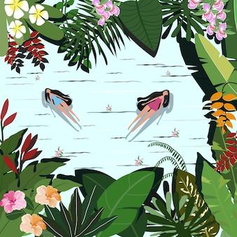 Donna graziosa divertente in foresta tropicale botanica.