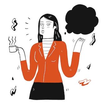 Pretty woman holding tazza di caffè e parlare